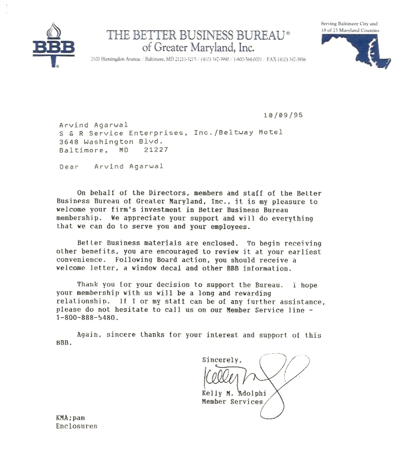 Letter from Better Business Bureau (BBB)
