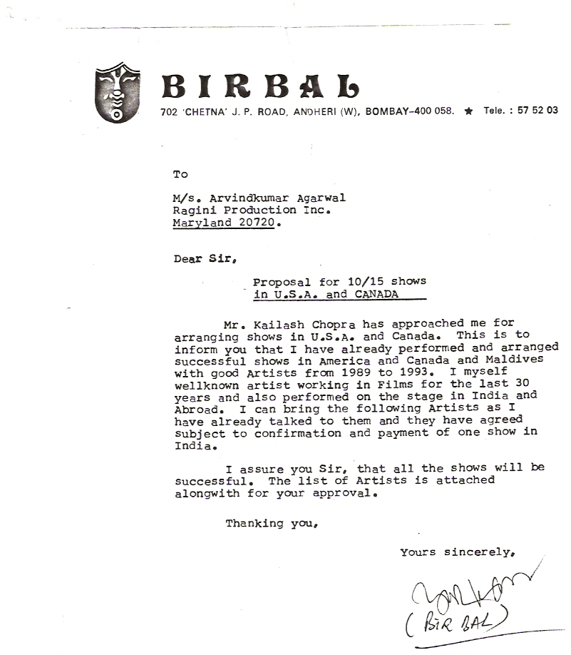 Proposal from Birbal - U.S. Tour