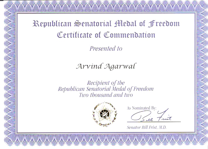 Certificate of Medal of Freedom - 2002