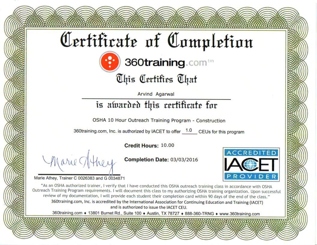 OSHA-10 Certificate