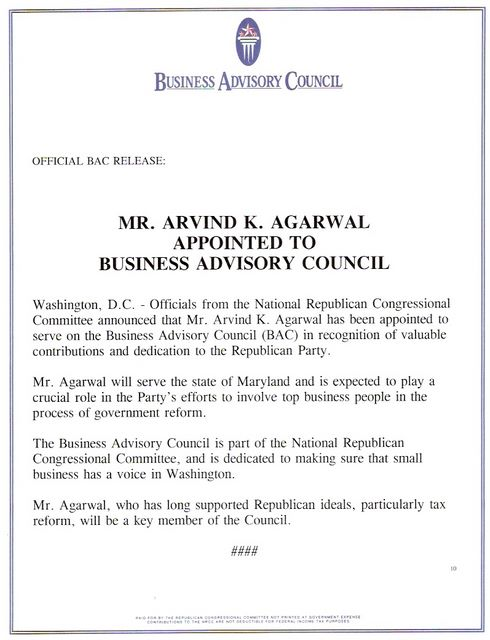 Appointed to Business Advisory Council in Washington DC