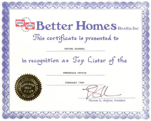Better Home - Top Lister Award 1998