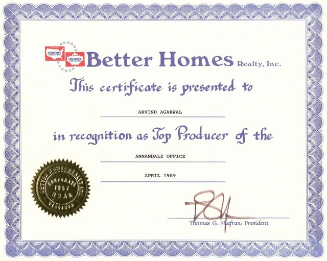 Better Home - Top Producer Award 1998