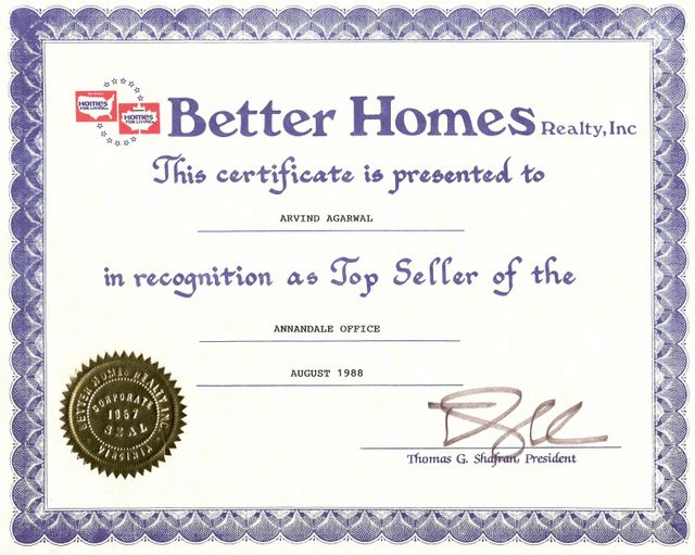 Better Home - Top Seller Award 1988