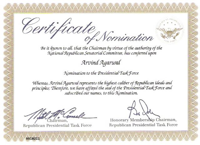 Certificate of Nomination - Pesidential Task Force