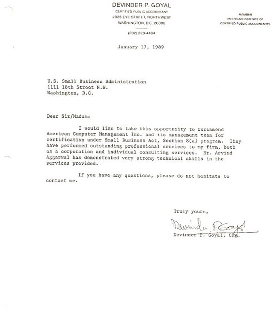 Accounting Firm (CPA) - Letter of Recommendation