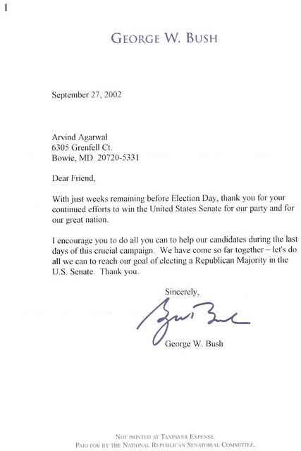 Letter from George Bush - 2002