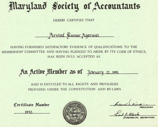 Maryland Society of Accountants 1991