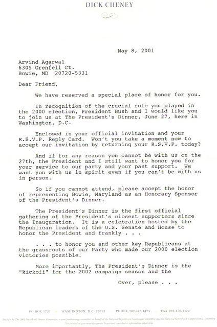 The Presidential Dinner Invitation by VP 2002