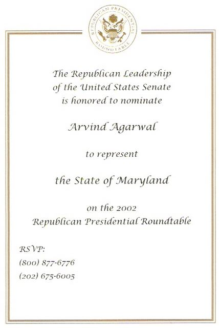 Nomination to Represent State of Maryland Presidential Roundtable 2002
