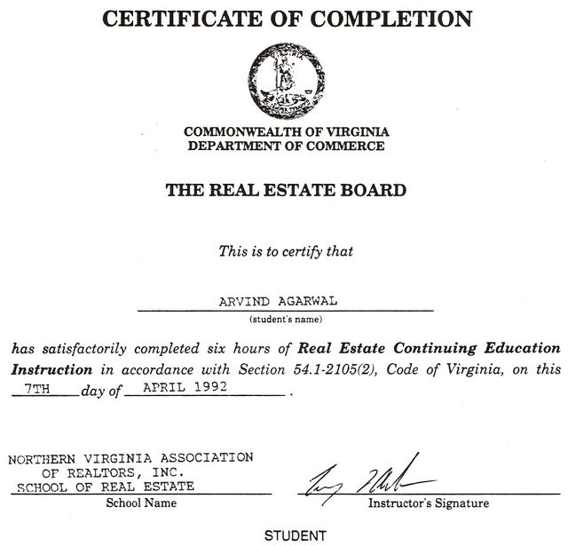 Certificate of Completion - The Real Estate Board