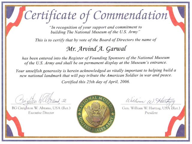 Certificate of Commendation US Army