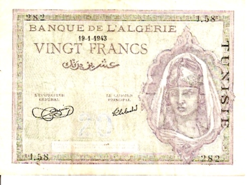 Banque D' Algerie  20 Francs  Date Issued: Jan -19-1943 Dimensions: 200 X 100, Type: JPEG