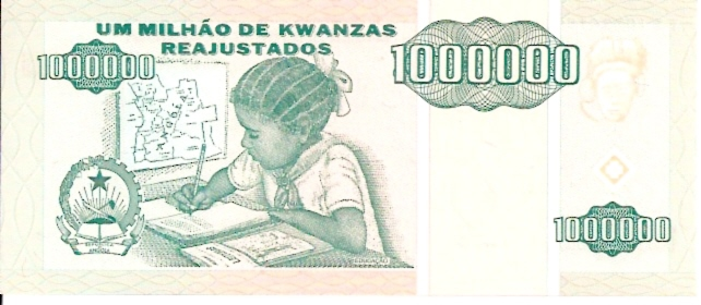 Banco DE Angola  1,000,000 Escudos  Feb 1991 Issue Dimensions: 200 X 100, Type: JPEG