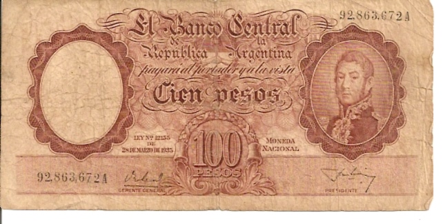 Banco Central  100 Pesos  1960-1962 Issue Dimensions: 200 X 100, Type: JPEG