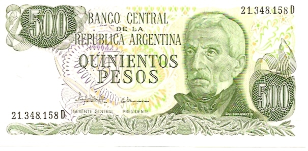 Banco Central  500 Pesos  1970-1976 Issue Dimensions: 200 X 100, Type: JPEG