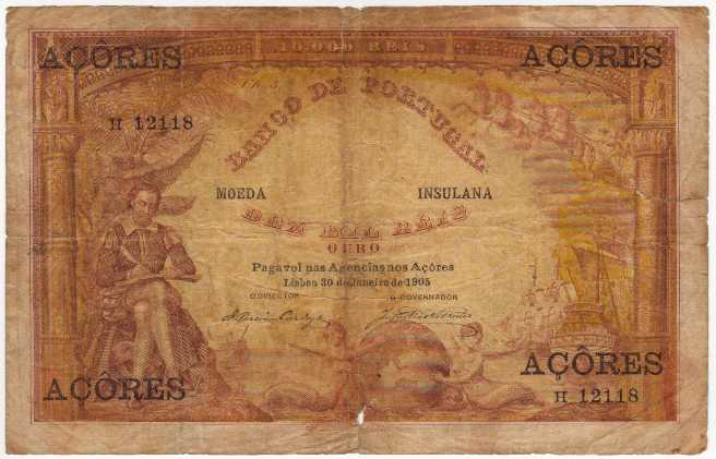 Banco DE Portugal  10000 Reis  Date Issued: Jun-30-1905  Country Does NOT exist anymore Dimensions: 200 X 100, Type: JPEG