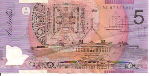 Reserve Bank  5 Dollars  1992-96 ND Issue  Printed on Polymer Plastic   Dimensions: 200 X 100, Type: JPEG