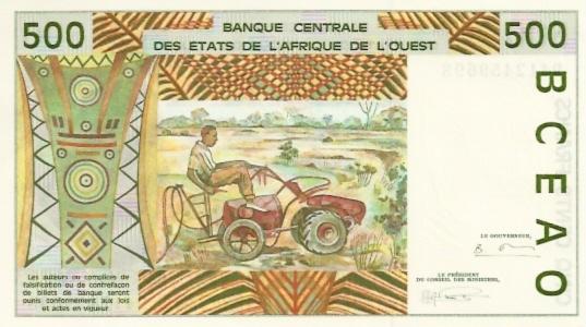 Banque Centrale  500 Francs  B-Benin Dimensions: 200 X 100, Type: JPEG