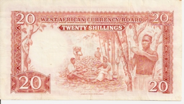 British Administration  West African Currency Board  20 Schilling  1962 Issue Dimensions: 200 X 100, Type: JPEG