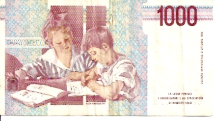 Bank of Italy  1000 Lire  1990-1994 Issue  Not in Circulation anymore Dimensions: 200 X 100, Type: JPEG