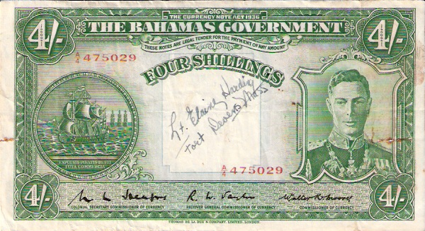 Government of The Bahamas  4 Schillings  Series of 1936 Dimensions: 200 X 100, Type: JPEG