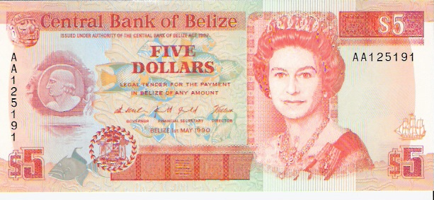 Government of Belize  5 Dollars  1990 Issue Dimensions: 200 X 100, Type: JPEG