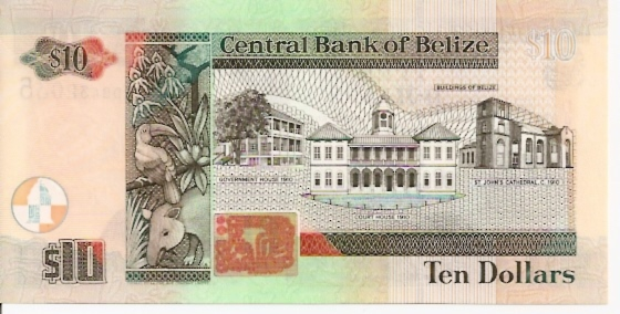 Central Bank of Belize 10 Dollars March 1st 2003 Issue Dimensions: 200 x 100 Type: JPEG