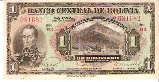 Banco Central De Bolivia  1 Boliviano  1928 Issue Dimensions: 200 X 100, Type: JPEG