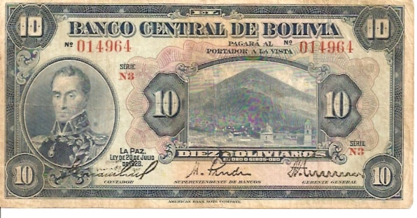 Banco Central De Bolivia  10 Boliviano  1928 Issue Dimensions: 200 X 100, Type: JPEG