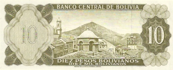 Banco Central De Bolivia  10 Boliviano  1962 Issue Dimensions: 200 X 100, Type: JPEG