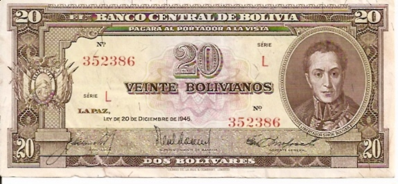 Banco Central De Bolivia  20 Boliviano  1945 Issue Dimensions: 200 X 100, Type: JPEG