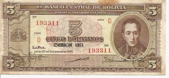 Banco Central De Bolivia  5 Boliviano  1951 Issue Dimensions: 200 X 100, Type: JPEG