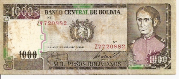 Banco Central De Bolivia  1000 Boliviano  1952 Issue Dimensions: 200 X 100, Type: JPEG