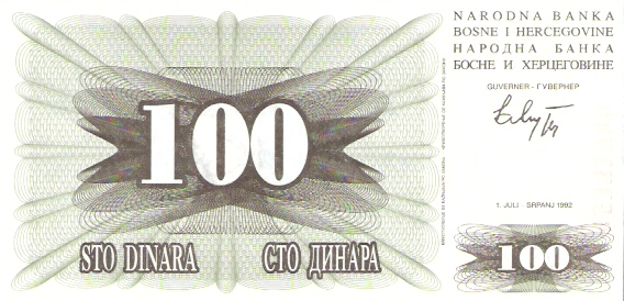 Narodna Banka Bosne Hercegovine  100 Dinara  1992-1993 Issue Dimensions: 200 X 100, Type: JPEG