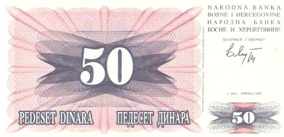 Narodna Banka Bosne Hercegovine  50 Dinara  1992-1993 Issue Dimensions: 200 X 100, Type: JPEG