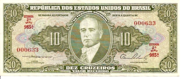 Banco Central DO Brasil  10 Cruzeiro  1961 ND Issue Dimensions: 200 X 100, Type: JPEG