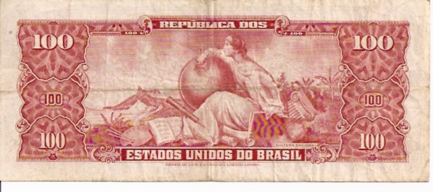 Banco Central DO Brasil  100 Cruzerios   1965-1966 Issue Dimensions: 200 X 100, Type: JPEG