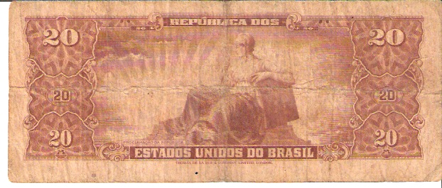 Banco Central DO Brasil  20 Cruzeiro  1961 ND Issue Dimensions: 200 X 100, Type: JPEG