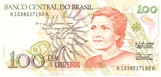 Banco Central DO Brasil  100 Cruzerios   1990-1993 Issue Dimensions: 200 X 100, Type: JPEG