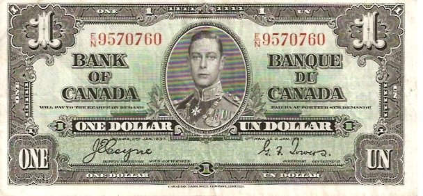 Banque DU Canada  1 Dollar  1937 Issue Dimensions: 200 X 100, Type: JPEG