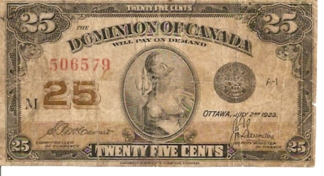 Dominion Of Canada  25 Cents  July 1923 Issue Dimensions: 200 X 100, Type: JPEG