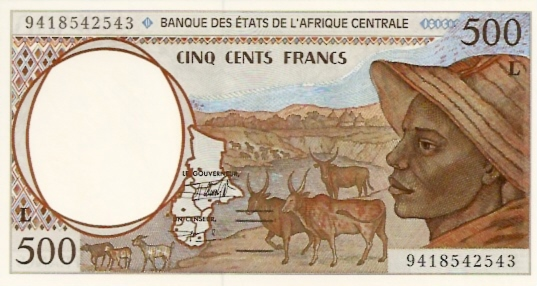 Banque Des Estats De L'Afrique Centrale  500 Francs  1993-1994 Issue Dimensions: 200 X 100, Type: JPEG