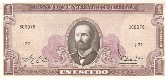 Banco Central De Chile  1 Escudo  1962-1970 Issue Dimensions: 200 X 100, Type: JPEG