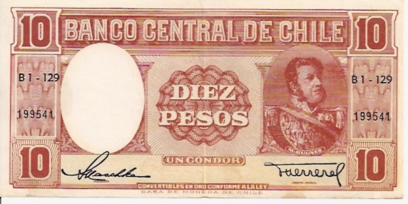 Banco Central De Chile  10 Pesos  1962-1970 Issue Dimensions: 200 X 100, Type: JPEG