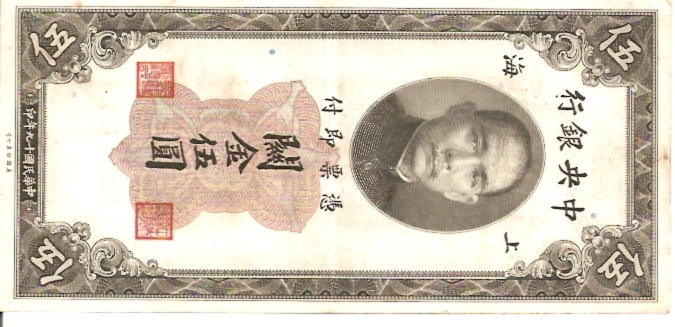 The Central Bank of China  5 Custom Gold Units  Old Currency Dimensions: 200 X 100, Type: JPEG