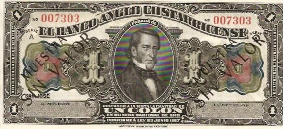 Banco Central De Costa Rica  1 Colones  1963-1970 Issue Dimensions: 200 X 100, Type: JPEG