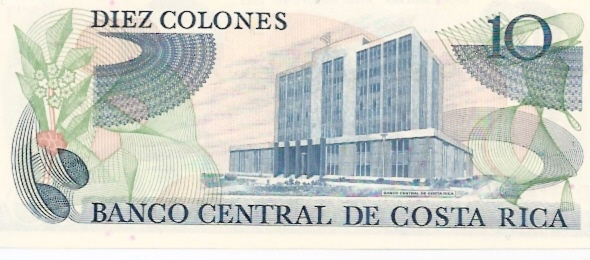 Banco Central De Costa Rica  10 Colones  1963-1970 Issue Dimensions: 200 X 100, Type: JPEG