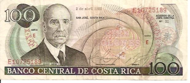 Banco Central De Costa Rica  100 Colones  1963-1970 Issue Dimensions: 200 X 100, Type: JPEG