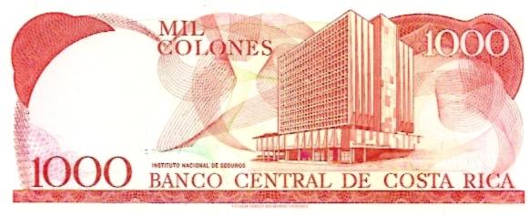 Banco Central De Costa Rica  1000 Colones  1986-1987 Issue Dimensions: 200 X 100, Type: JPEG